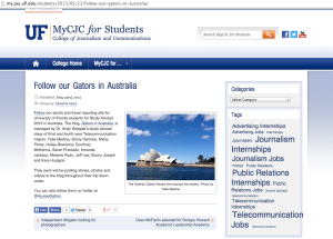 photo taken by Talia, featured on UF's College of Journalism and Communications ' Australia study abroad page