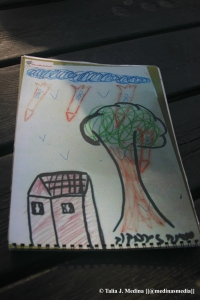 child's illustration of rockets hitting their home in Sderot